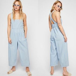 Free People | Fara Denim Cropped Overalls Jumpsuit